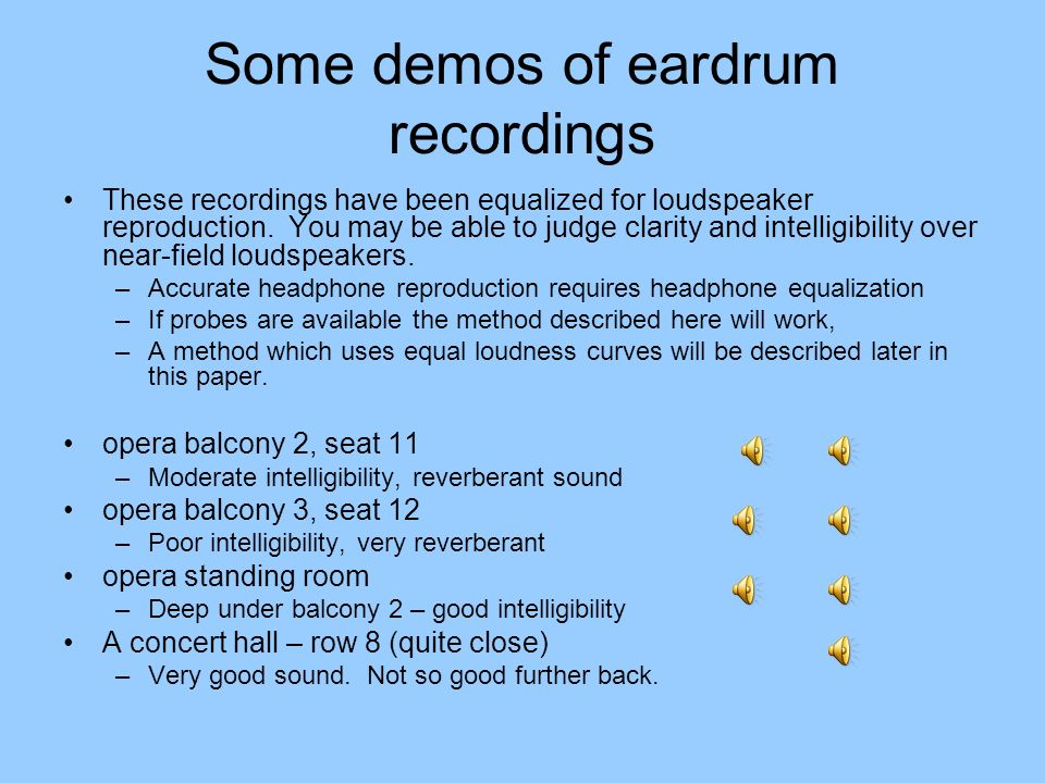 Some demos of eardrum recordings These recordings have been equalized for loudspeaker reproduction. You may be able to judge clarity and intelligibili