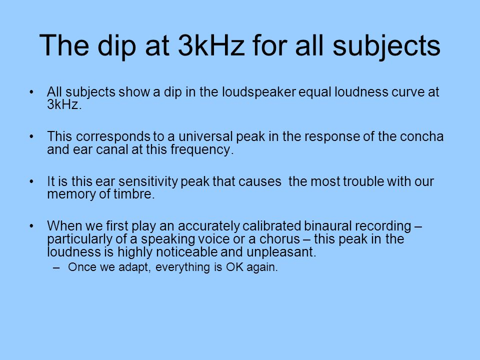 The dip at 3kHz for all subjects All subjects show a dip in the loudspeaker equal loudness curve at 3kHz. This corresponds to a universal peak in the