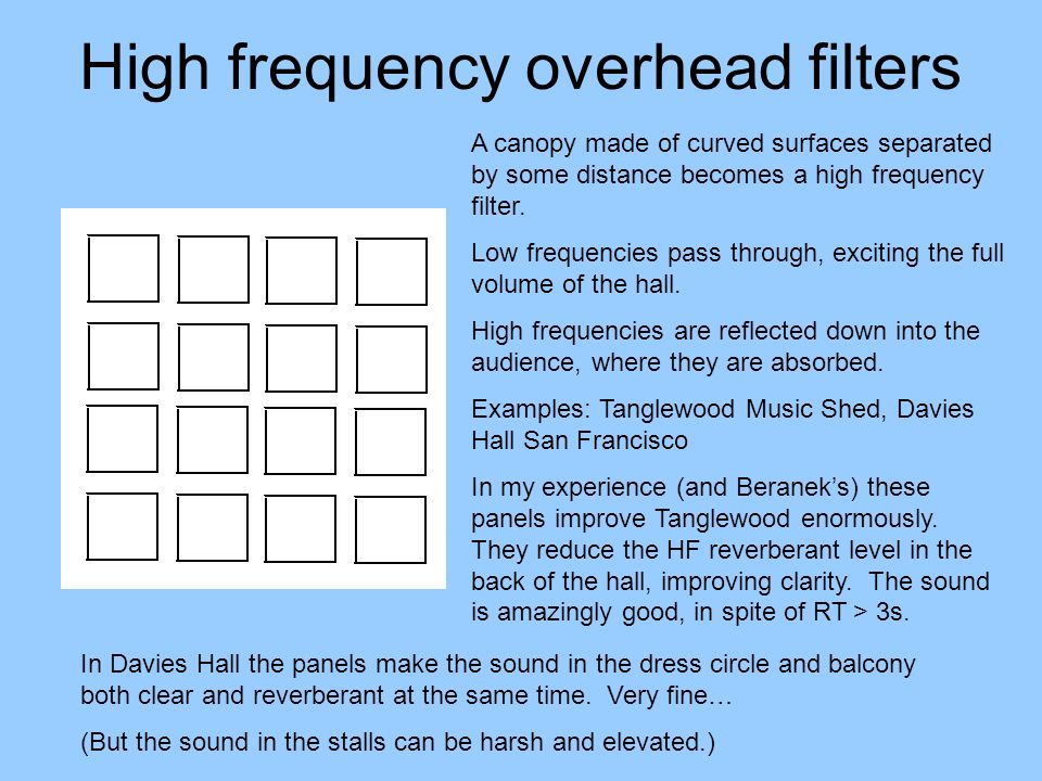 High frequency overhead filters A canopy made of curved surfaces separated by some distance becomes a high frequency filter. Low frequencies pass thro