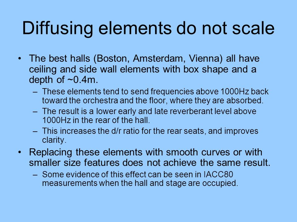 Diffusing elements do not scale The best halls (Boston, Amsterdam, Vienna) all have ceiling and side wall elements with box shape and a depth of ~0.4m