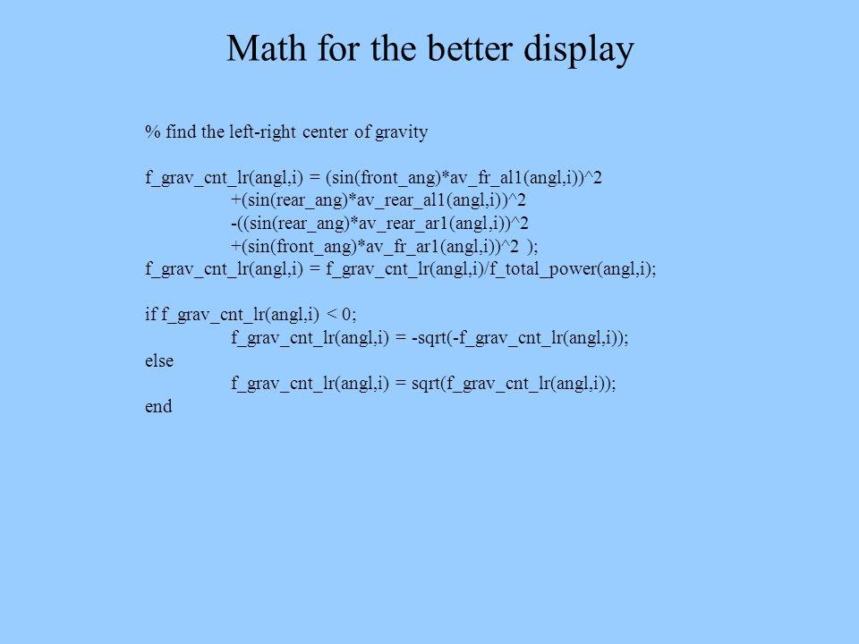 Math for the better display % find the left-right center of gravity f_grav_cnt_lr(angl,i) = (sin(front_ang)*av_fr_al1(angl,i))^2 +(sin(rear_ang)*av_re