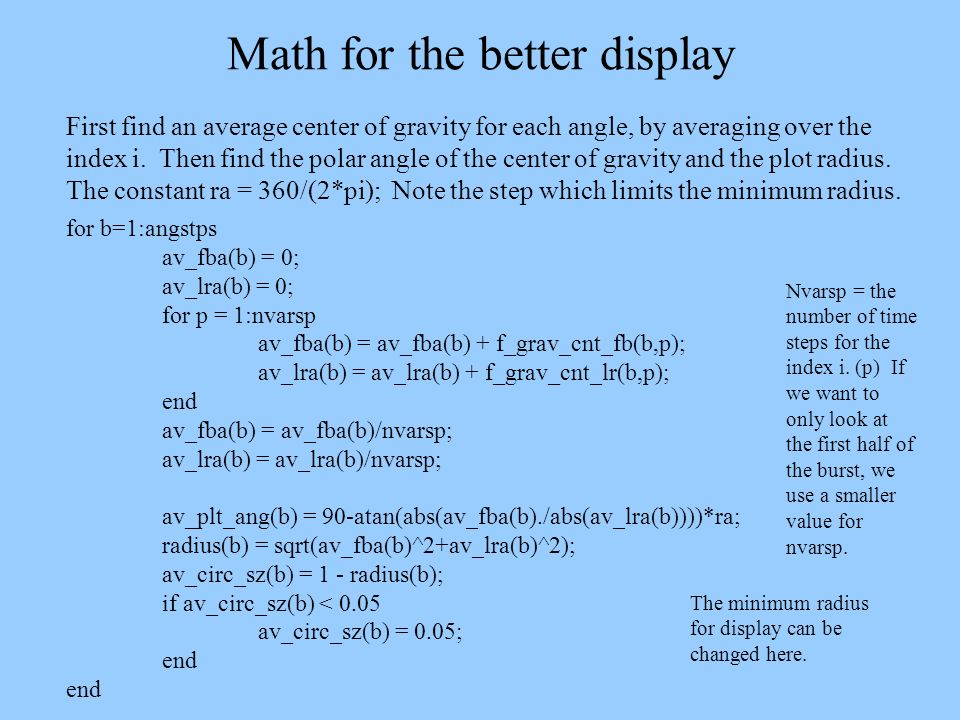 Math for the better display First find an average center of gravity for each angle, by averaging over the index i. Then find the polar angle of the ce