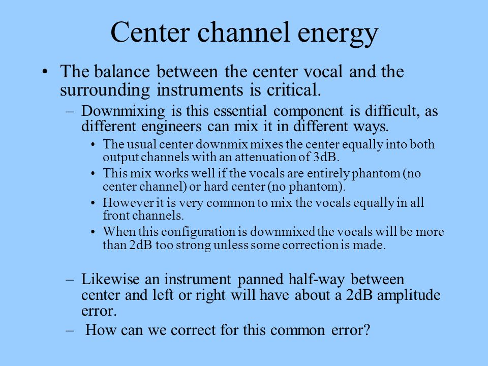 Rear channel energy The same problem occurs in the rear channels.