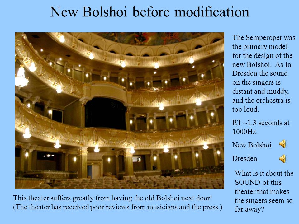 New Bolshoi before modification The Semperoper was the primary model for the design of the new Bolshoi. As in Dresden the sound on the singers is dist