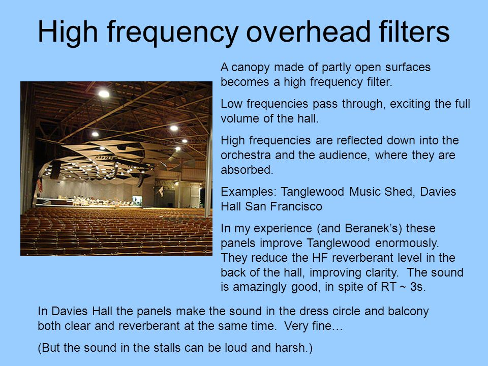 High frequency overhead filters A canopy made of partly open surfaces becomes a high frequency filter. Low frequencies pass through, exciting the full