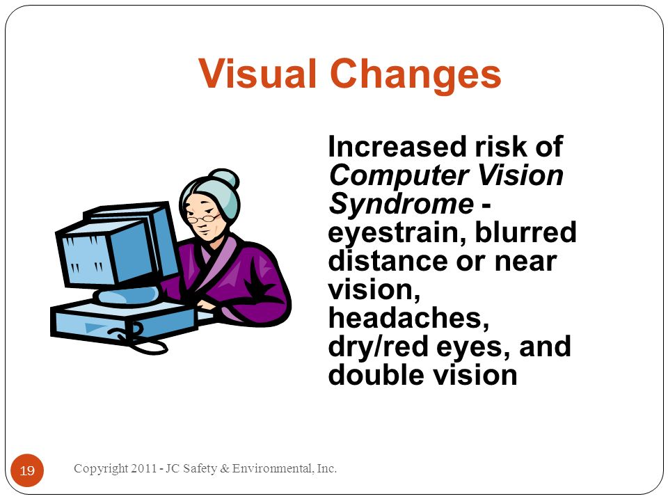 Visual Changes Increased risk of Computer Vision Syndrome - eyestrain, blurred distance or near vision, headaches, dry/red eyes, and double vision 19