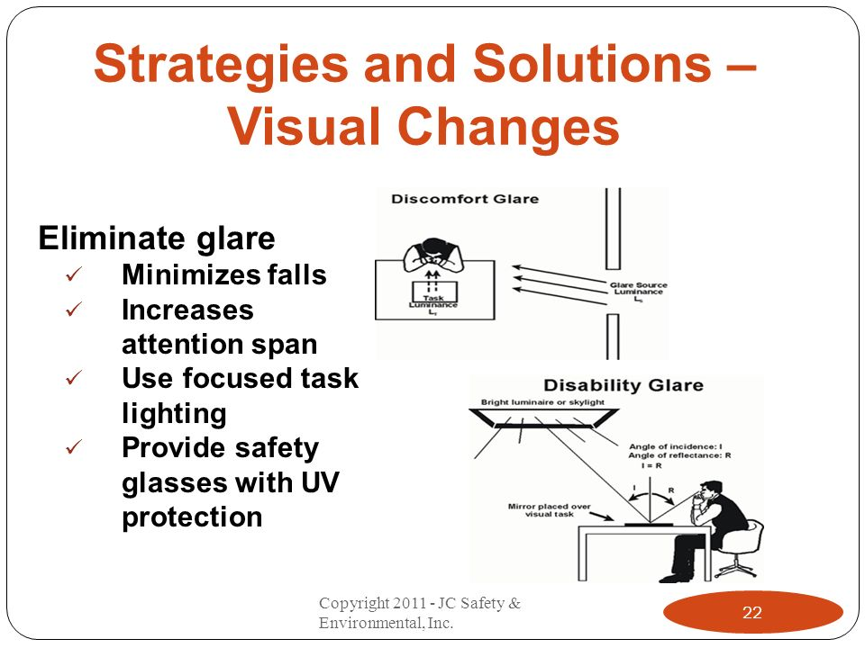 Strategies and Solutions – Visual Changes Eliminate glare Minimizes falls Increases attention span Use focused task lighting Provide safety glasses with UV protection 22 Copyright 2011 - JC Safety & Environmental, Inc.