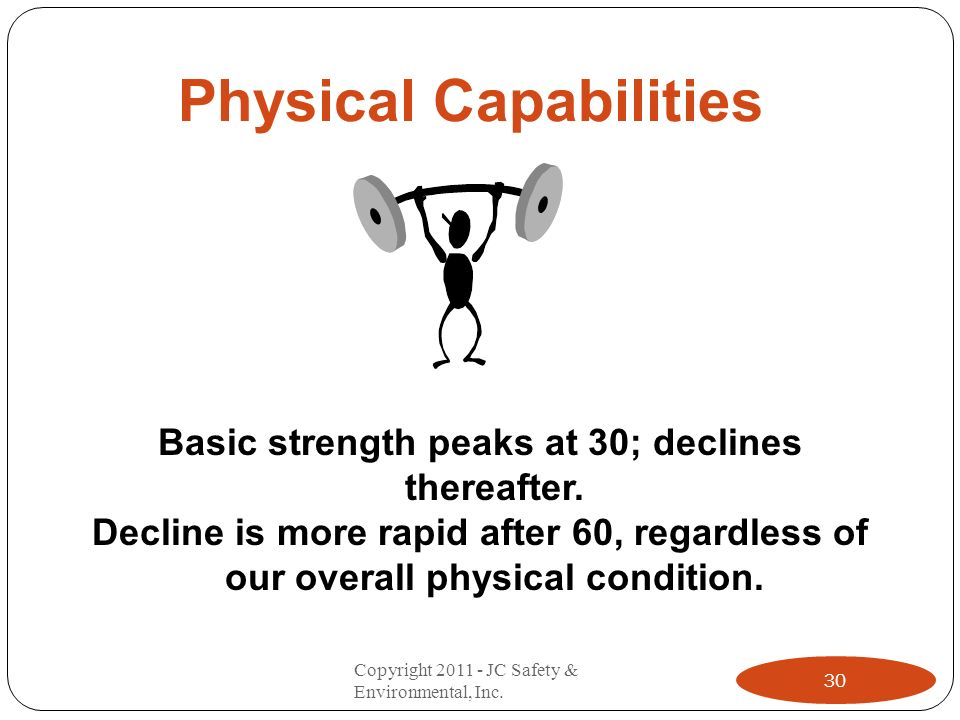 Physical Capabilities Basic strength peaks at 30; declines thereafter. Decline is more rapid after 60, regardless of our overall physical condition. 3