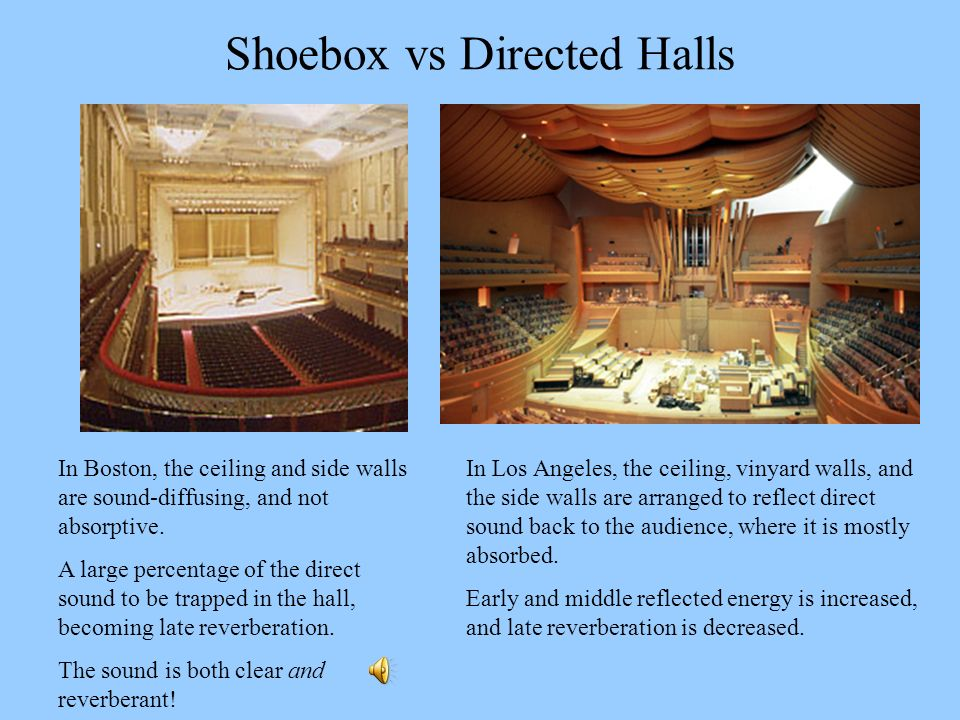 Shoebox vs Directed Halls In Boston, the ceiling and side walls are sound-diffusing, and not absorptive. A large percentage of the direct sound to be