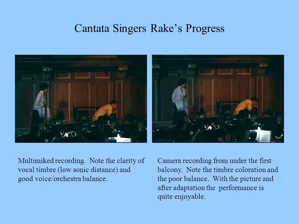 Cantata Singers Rakes Progress Multimiked recording. Note the clarity of vocal timbre (low sonic distance) and good voice/orchestra balance. Camera re