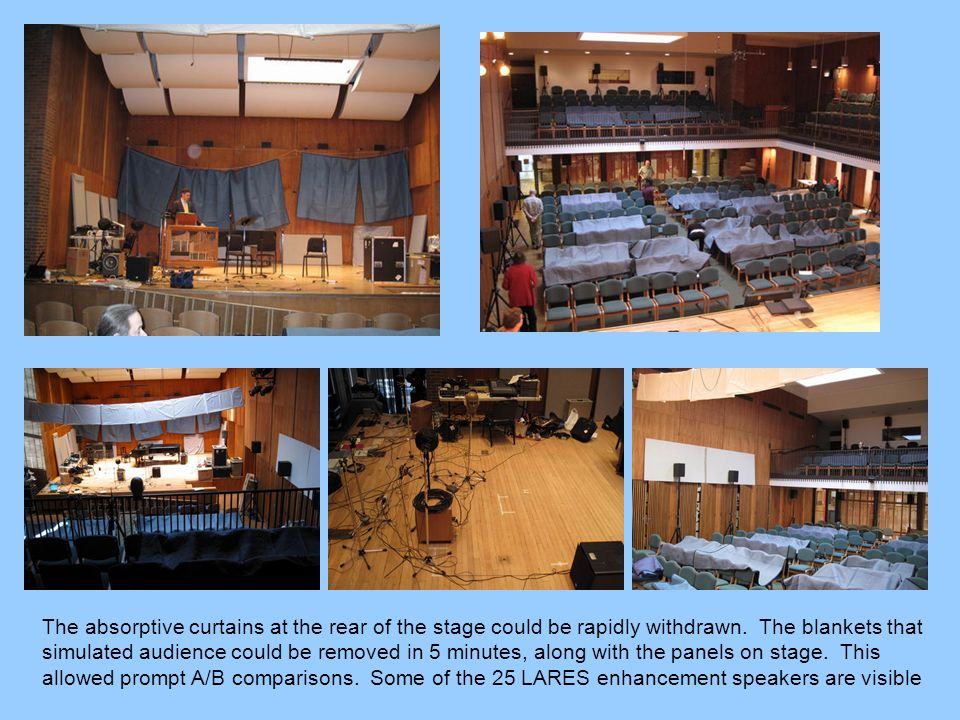 The absorptive curtains at the rear of the stage could be rapidly withdrawn. The blankets that simulated audience could be removed in 5 minutes, along