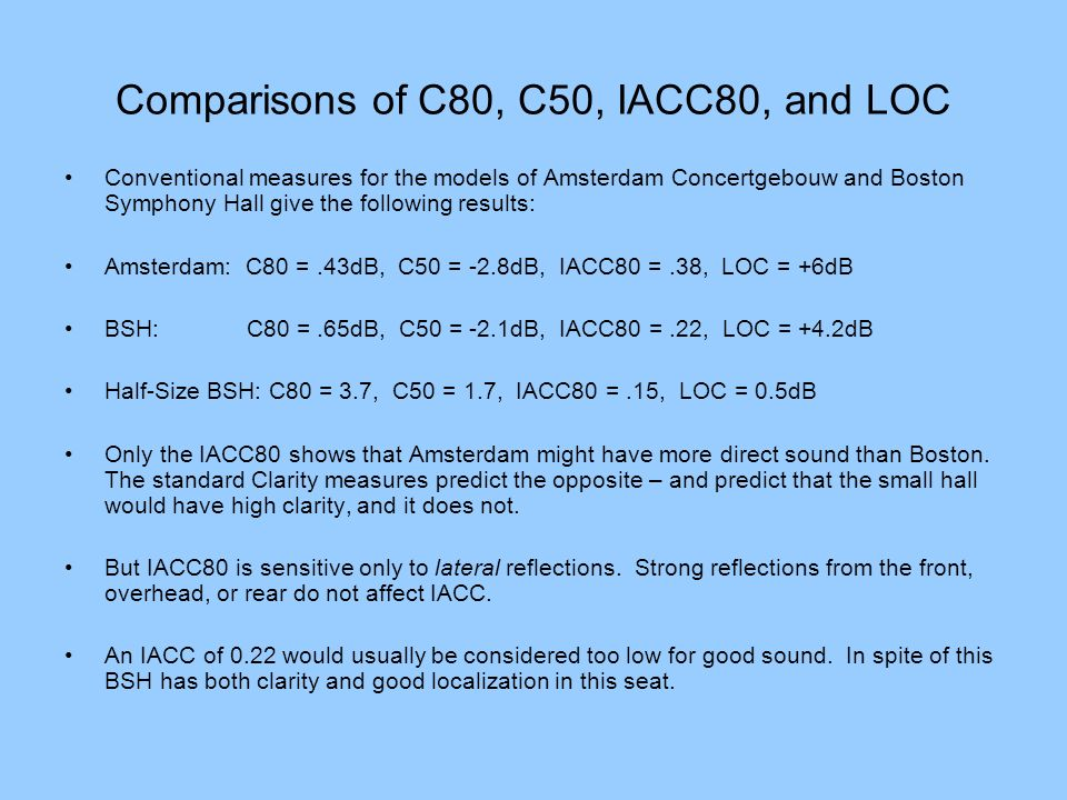 Comparisons of C80, C50, IACC80, and LOC Conventional measures for the models of Amsterdam Concertgebouw and Boston Symphony Hall give the following r