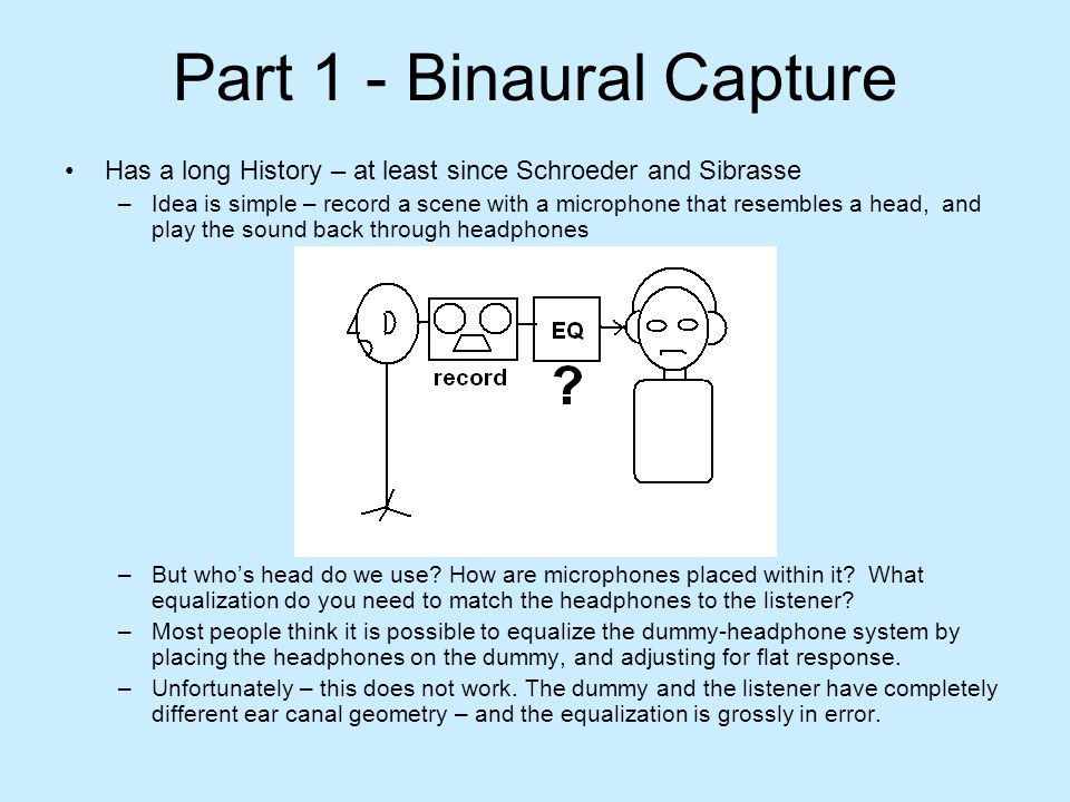 Part 1 - Binaural Capture Has a long History – at least since Schroeder and Sibrasse –Idea is simple – record a scene with a microphone that resembles