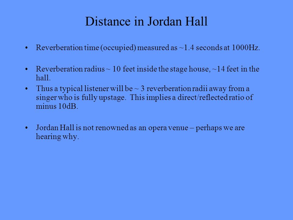 Distance in Jordan Hall Reverberation time (occupied) measured as ~1.4 seconds at 1000Hz. Reverberation radius ~ 10 feet inside the stage house, ~14 f