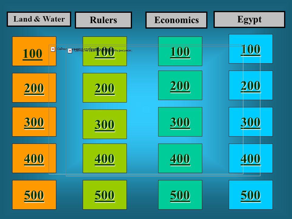 100 200 400 300 400 Land & Water RulersEconomics Egypt 300 200 400 200 100 500 100