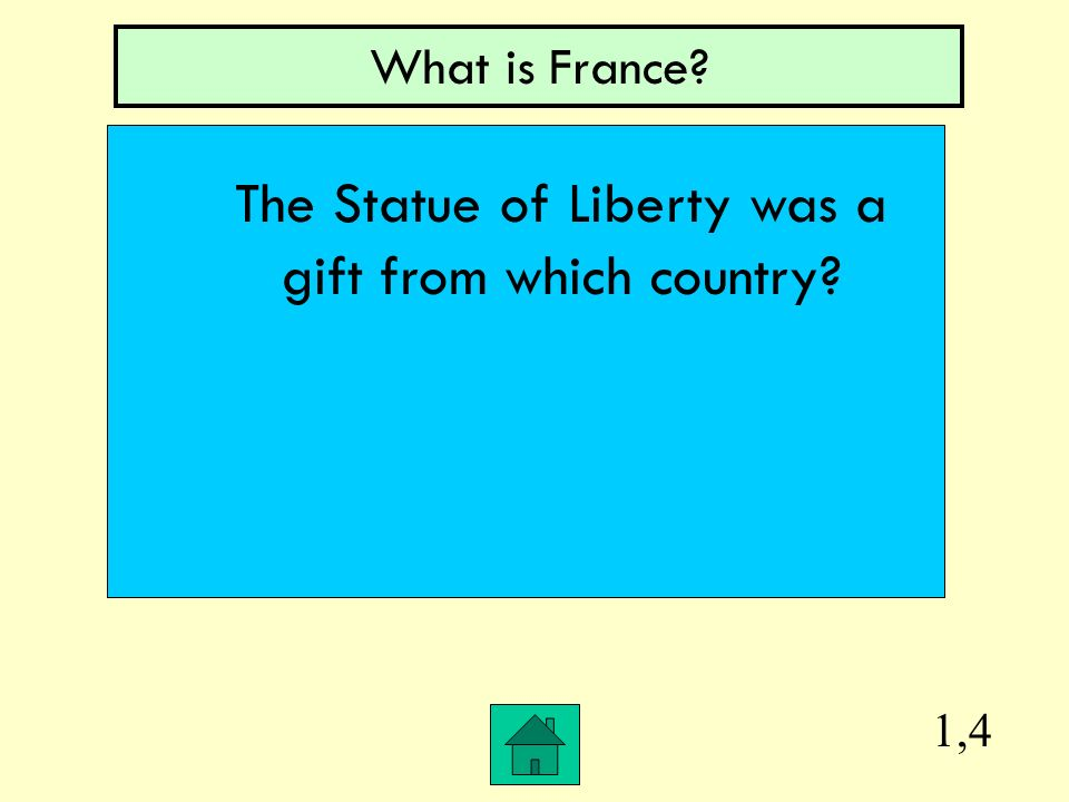 1,4 What is France? The Statue of Liberty was a gift from which country?