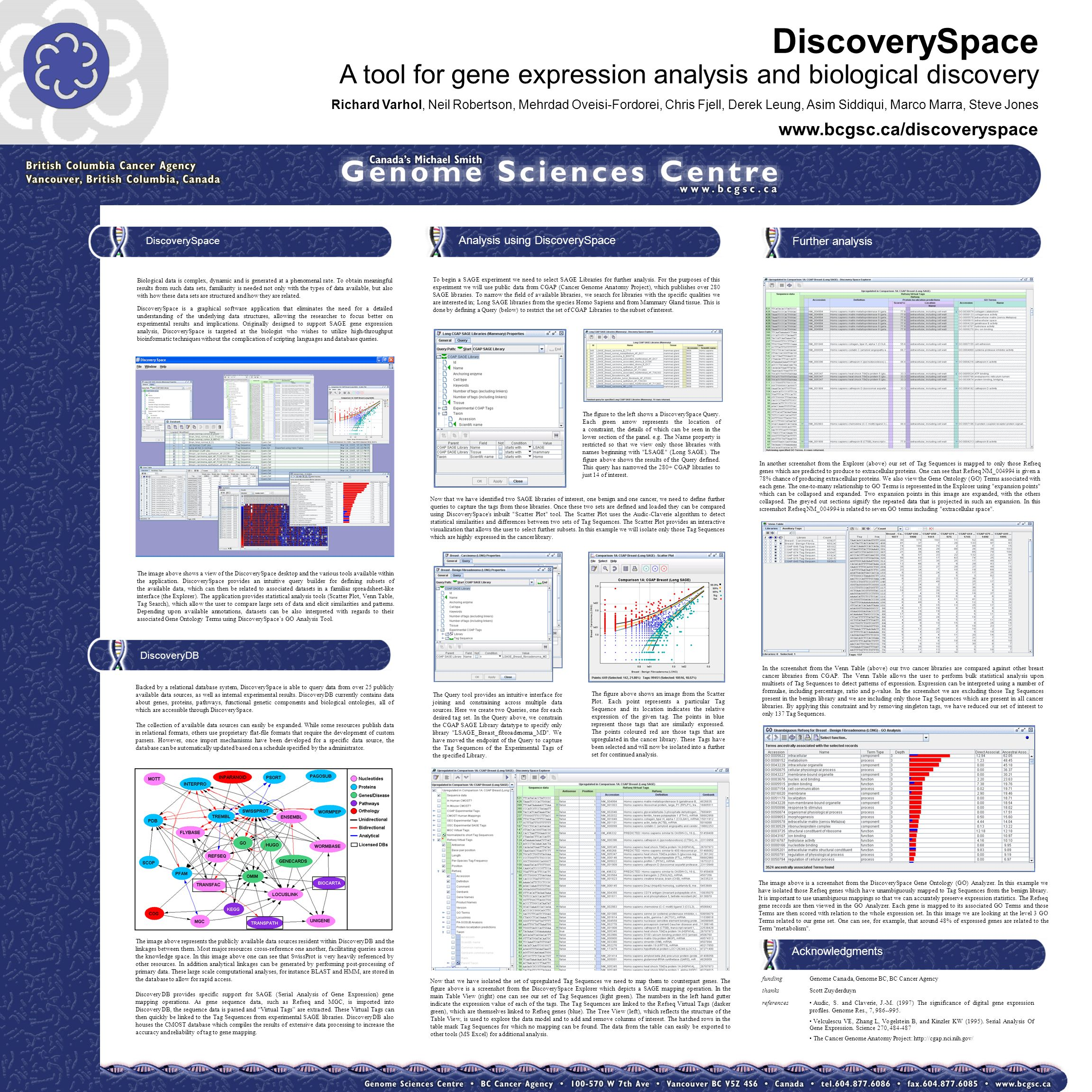 DiscoverySpace A tool for gene expression analysis and biological discovery Richard Varhol, Neil Robertson, Mehrdad Oveisi-Fordorei, Chris Fjell, Dere