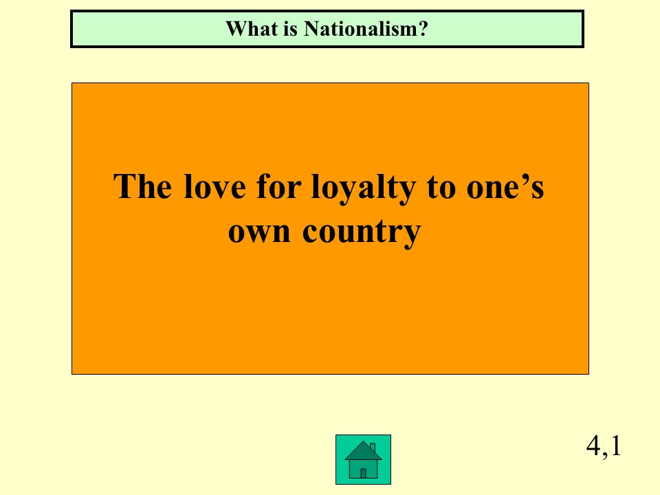 4,1 The love for loyalty to ones own country What is Nationalism?