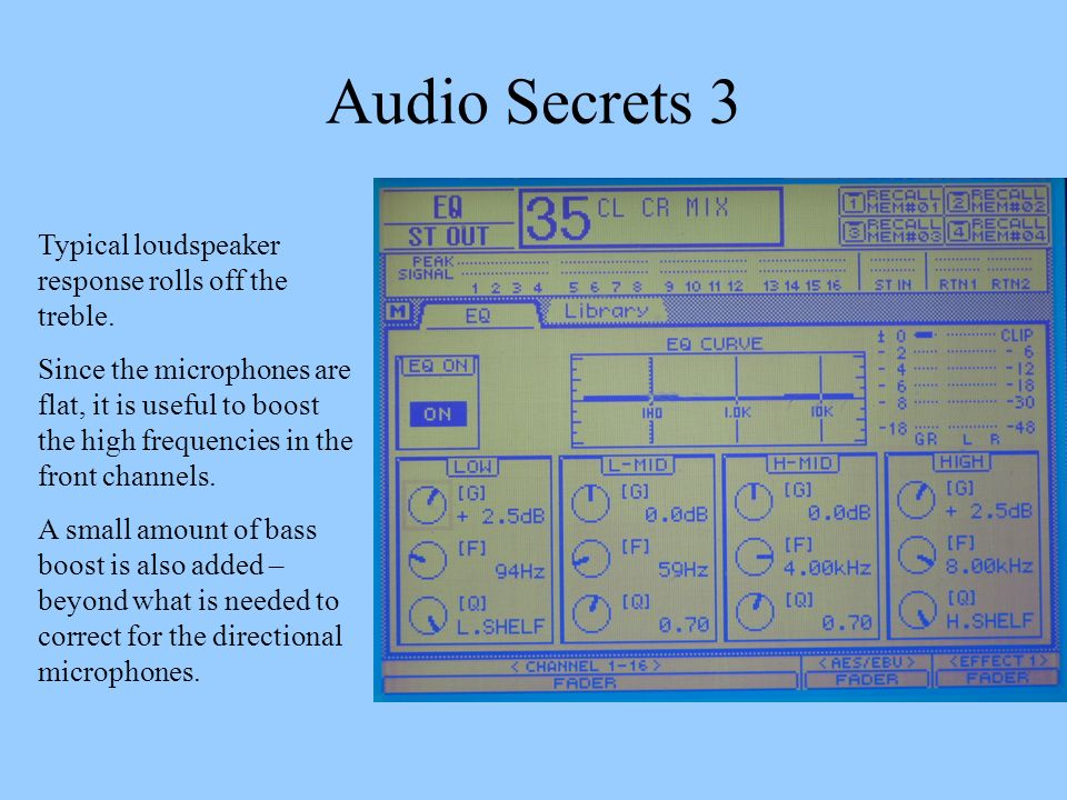 Audio Secrets 3 Typical loudspeaker response rolls off the treble. Since the microphones are flat, it is useful to boost the high frequencies in the f