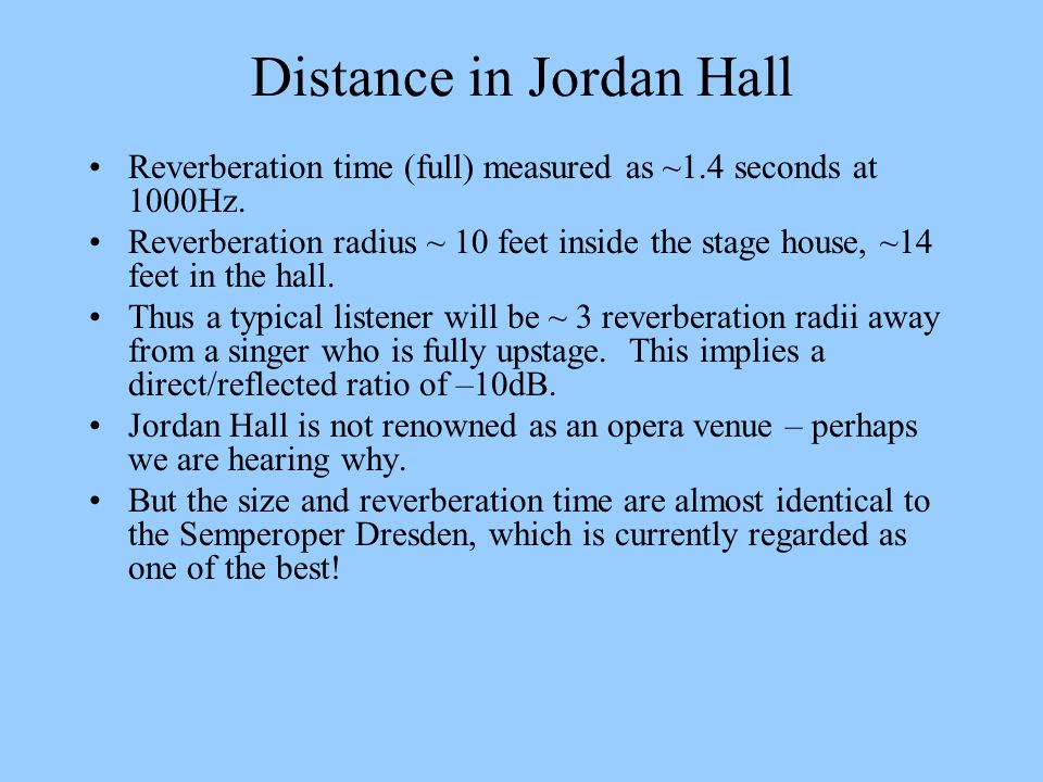 Distance in Jordan Hall Reverberation time (full) measured as ~1.4 seconds at 1000Hz. Reverberation radius ~ 10 feet inside the stage house, ~14 feet