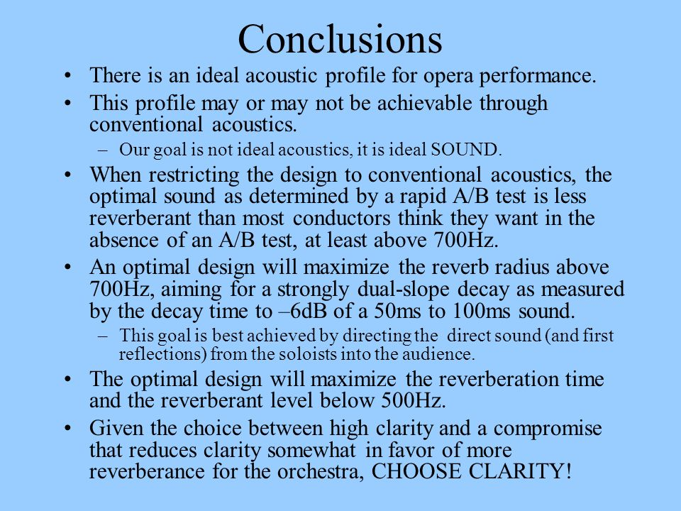 Conclusions There is an ideal acoustic profile for opera performance. This profile may or may not be achievable through conventional acoustics. –Our g