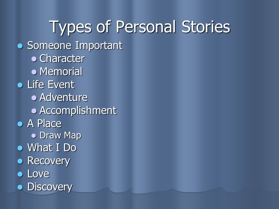 Types of Personal Stories Someone Important Someone Important Character Character Memorial Memorial Life Event Life Event Adventure Adventure Accomplishment Accomplishment A Place A Place Draw Map Draw Map What I Do What I Do Recovery Recovery Love Love Discovery Discovery