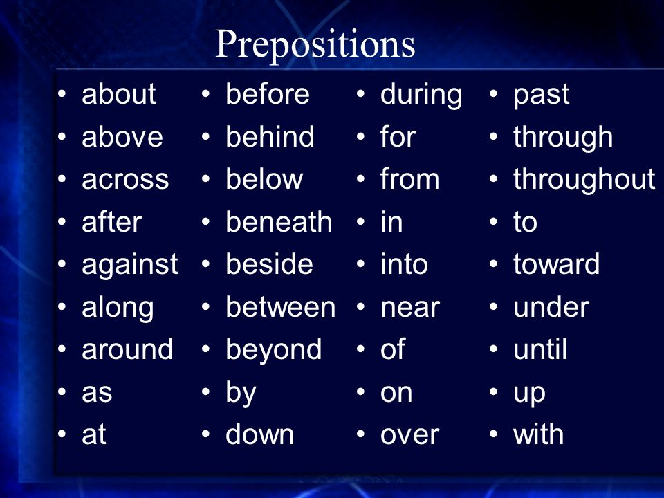 Prepositions about above across after against along around as at before behind below beneath beside between beyond by down during for from in into nea
