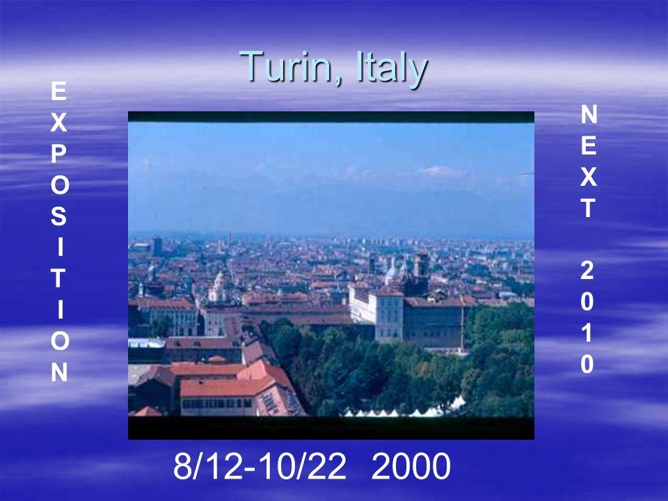 Turin, Italy 8/12-10/22 2000 E X P O S I T I O N NEXT2010NEXT2010