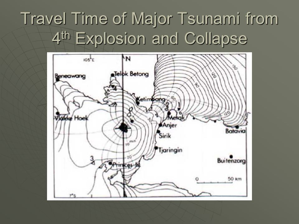 Travel Time of Major Tsunami from 4 th Explosion and Collapse