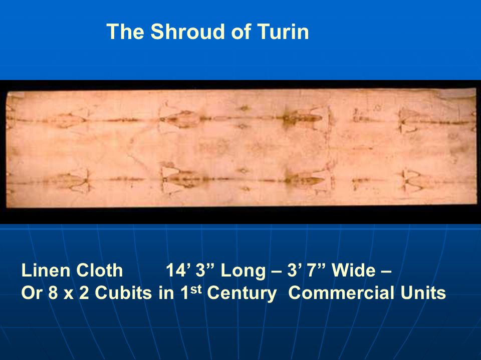 Linen Cloth 14 3 Long – 3 7 Wide – Or 8 x 2 Cubits in 1 st Century Commercial Units The Shroud of Turin