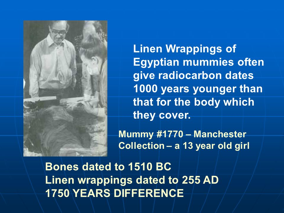 Linen Wrappings of Egyptian mummies often give radiocarbon dates 1000 years younger than that for the body which they cover. Bones dated to 1510 BC Li