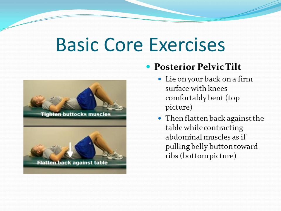 Basic Core Exercises Posterior Pelvic Tilt Lie on your back on a firm surface with knees comfortably bent (top picture) Then flatten back against the