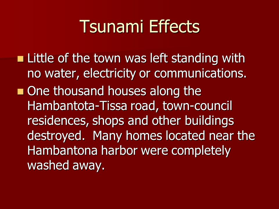 Tsunami Effects Little of the town was left standing with no water, electricity or communications. Little of the town was left standing with no water,