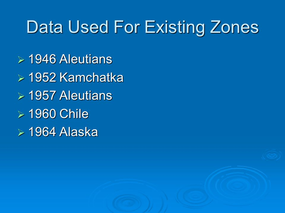 Data Used For Existing Zones 1946 Aleutians 1946 Aleutians 1952 Kamchatka 1952 Kamchatka 1957 Aleutians 1957 Aleutians 1960 Chile 1960 Chile 1964 Alaska 1964 Alaska