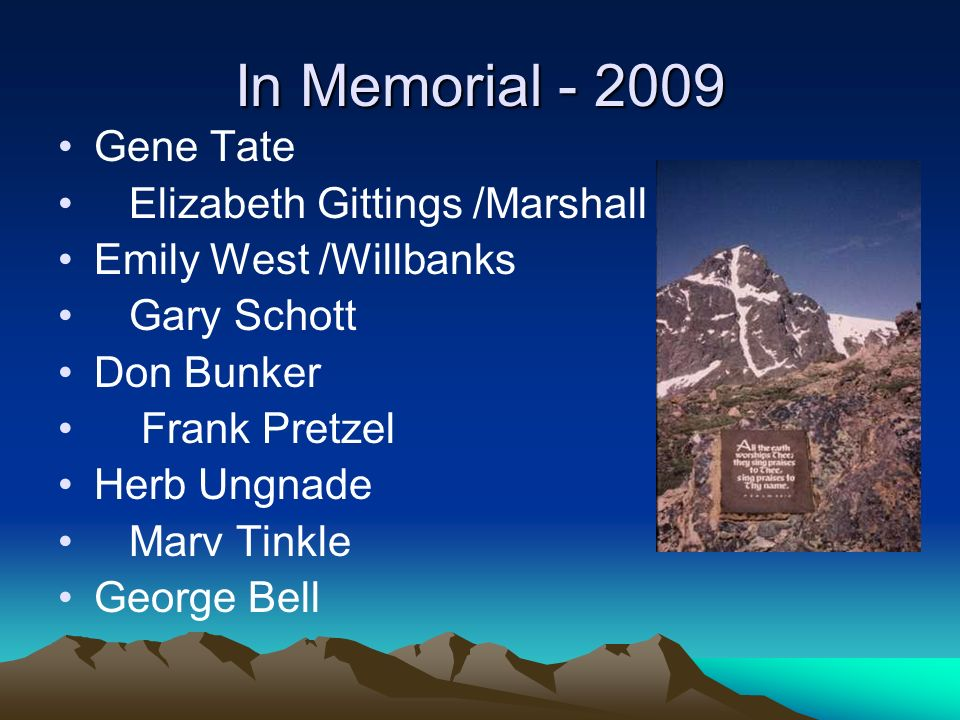 In Memorial - 2009 Gene Tate Elizabeth Gittings /Marshall Emily West /Willbanks Gary Schott Don Bunker Frank Pretzel Herb Ungnade Marv Tinkle George Bell