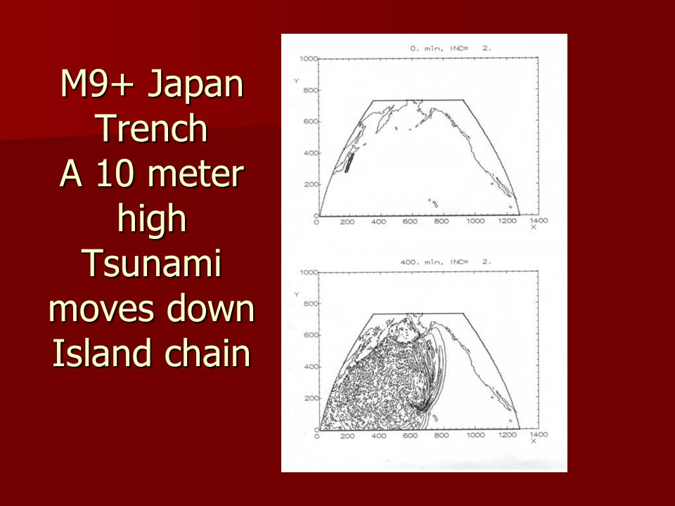 M9+ Japan Trench A 10 meter high Tsunami moves down Island chain