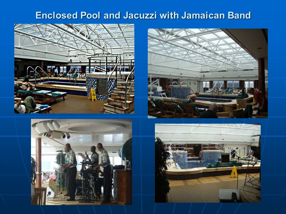 Enclosed Pool and Jacuzzi with Jamaican Band