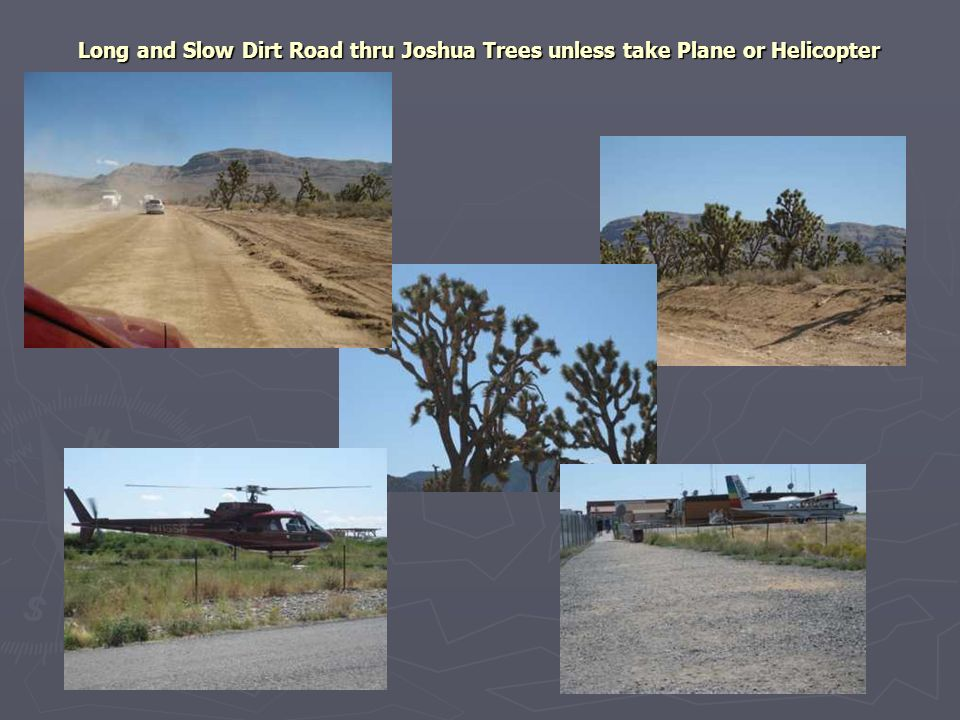 Long and Slow Dirt Road thru Joshua Trees unless take Plane or Helicopter