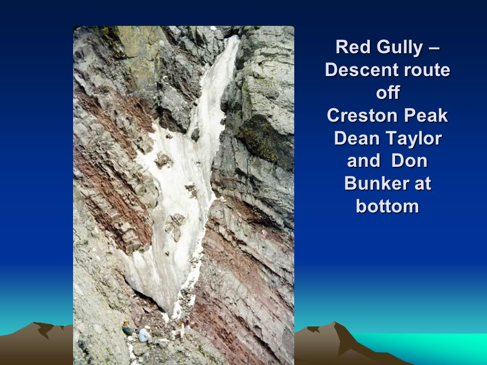 Red Gully – Descent route off Creston Peak Dean Taylor and Don Bunker at bottom