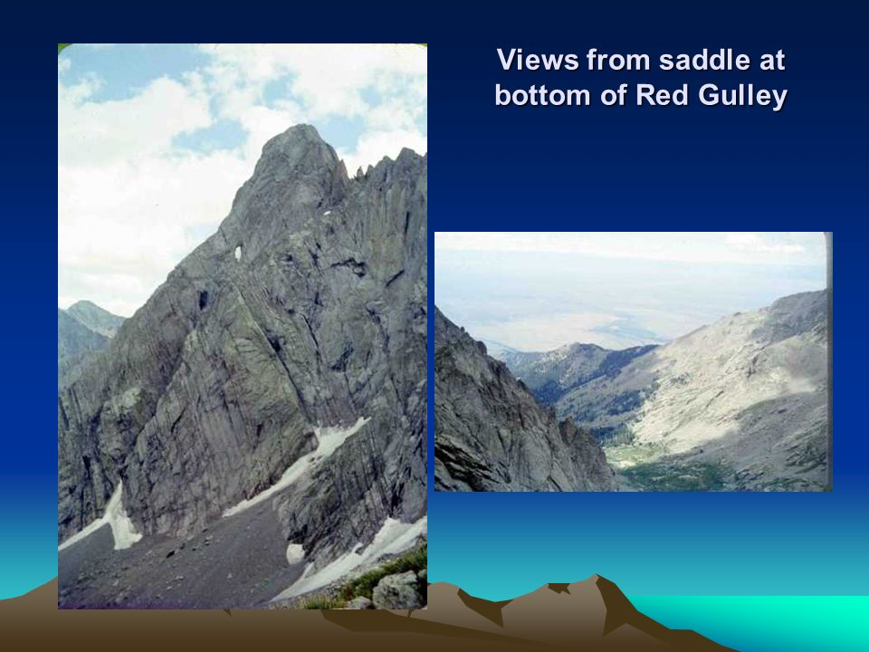Views from saddle at bottom of Red Gulley