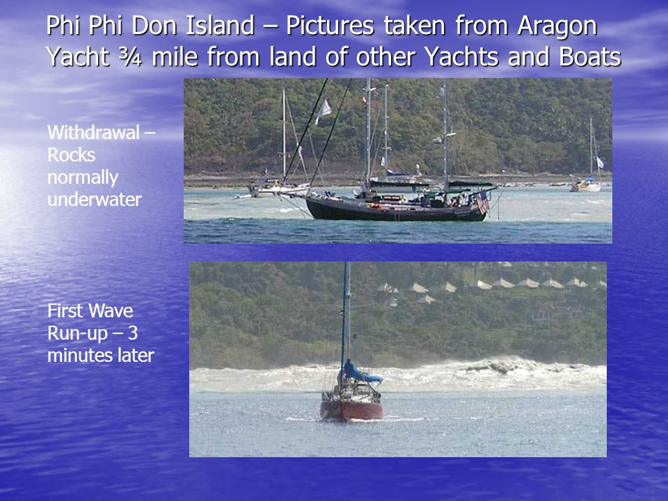 Phi Phi Don Island – Pictures taken from Aragon Yacht ¾ mile from land of other Yachts and Boats Withdrawal – Rocks normally underwater First Wave Run