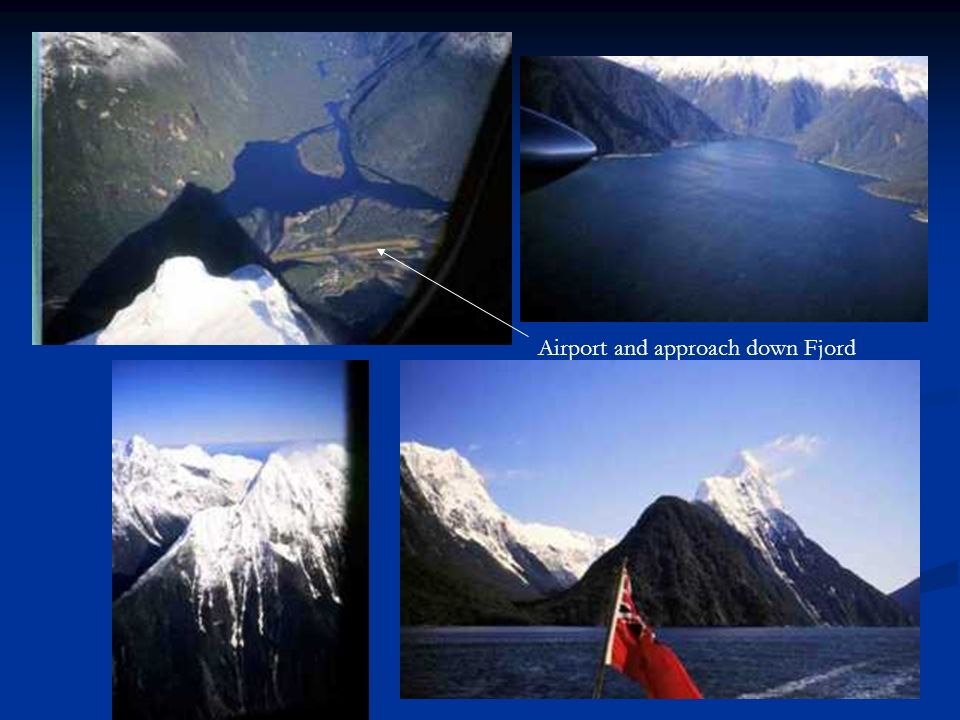 Airport and approach down Fjord