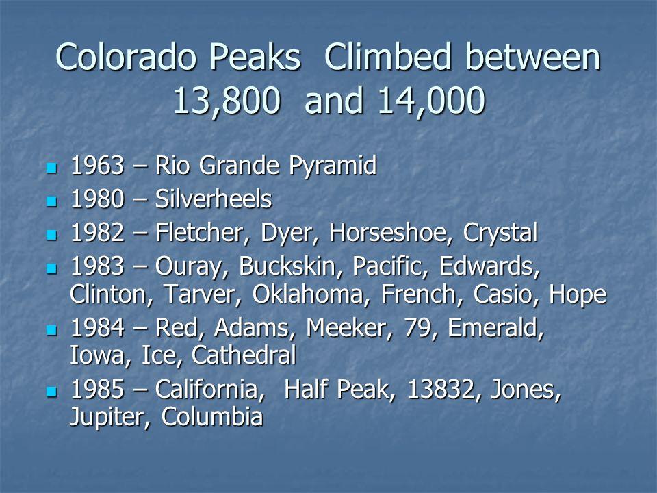 Mount Buckskin 8/14/1983 - 13,865 ft 2hr 15 min up, 1 hr 15min down Solo