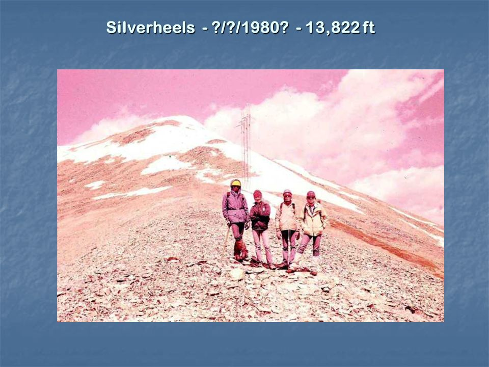 Mount Hope 13,943 9/28/1983 2 hr to Mine, 1.4 to Caso, 2.2 hr 2 hr up trail, 1.45 to summit, 2 hr return With Bob Cowan Mount Hope 13,943 9/28/1983 2 hr to Mine, 1.4 to Caso, 2.2 hr 2 hr up trail, 1.45 to summit, 2 hr return With Bob Cowan