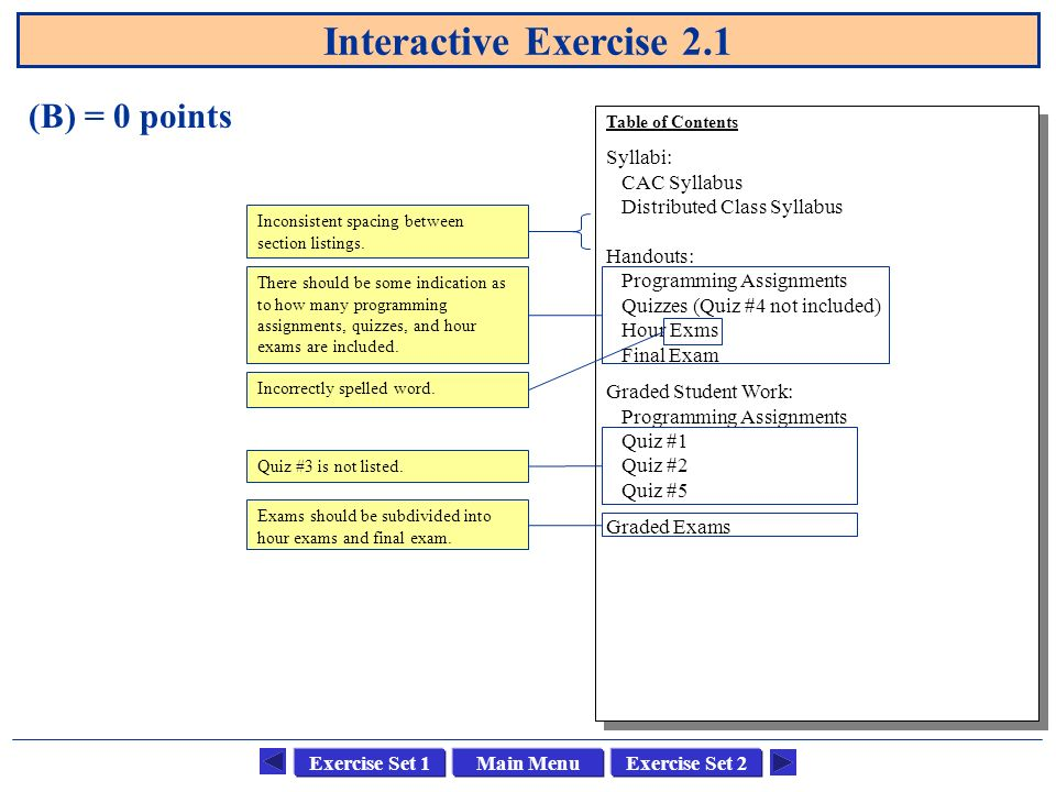 Main MenuExercise Set 1Exercise Set 2 Interactive Exercise 2.1 (C) = 10 points Table of Contents Course: CSCI 1302 Advanced Programming Principles Text: Feldman, Software Construction and Data Structures, Addison-Wesley, 1999.