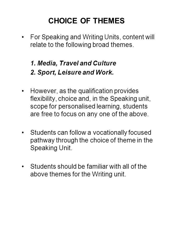 ASSESSEMTN OVERVIEW OF WRITNG (2) Task 1: Students are required to produce a short writing task in Arabic (30-70 words) in response to a choice of four questions that relate to both of the prescribed themes.