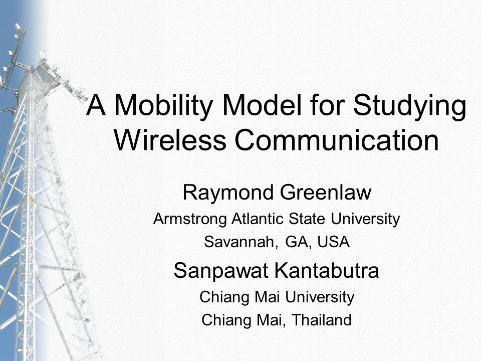 Greenlaw & Kantabutra – A Mobility Model for Studying Wireless Communication – 12 Definition of the Model Model Definition (continued) 8.The set O = {(x 1, y 1, x 2, y 2 ) | x 1, y 1, x 2, y 2 N, x 2 > x 1, and y 2 > y 1 } is a finite collection of rectangles in the plane.
