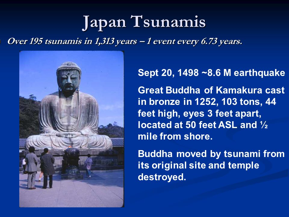 Japan Tsunamis Over 195 tsunamis in 1,313 years – 1 event every 6.73 years.