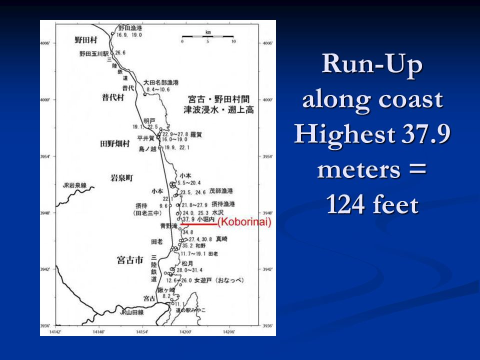 Run-Up along coast Highest 37.9 meters = 124 feet