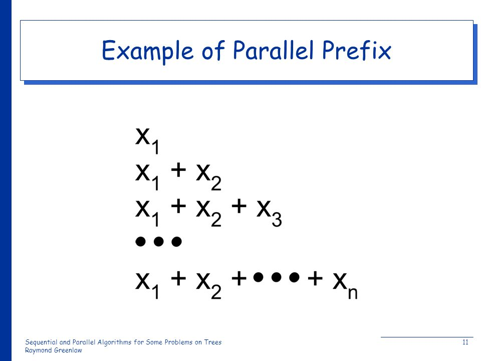 Sequential and Parallel Algorithms for Some Problems on Trees Raymond Greenlaw 11 Example of Parallel Prefix